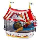 Ferplast Jaula de Tres Pisos para hámsteres Circus Fun, Ratones y pequeños roedores, Plástico Robusto y Metal, Coloridos Adhesivos y Accesorios incluidos 49,5 x 34 x h 42,5 cm Negro