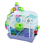 DZL® Jaula para Hamster(39.5X29.5X38CM) Color Azul/Purpura/Rojo se Entrega al Azar,Aviso Importante: el metacrilato Lleva un Protector de Papel Que se Quita!